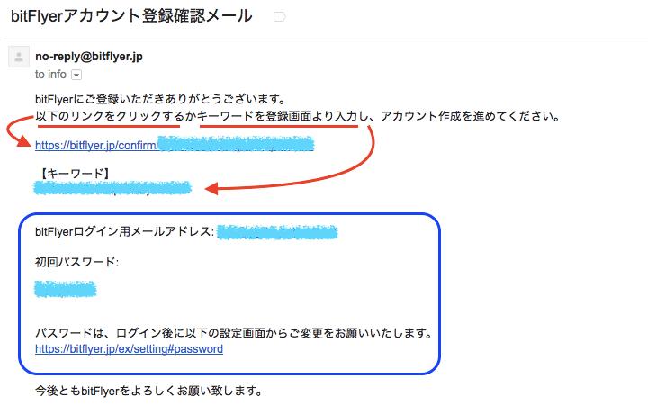 bitFlyer(ビットフライヤー)から届く登録確認メール